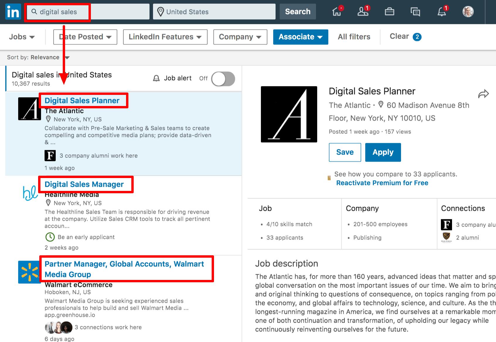screenshot of linkedin jobs board