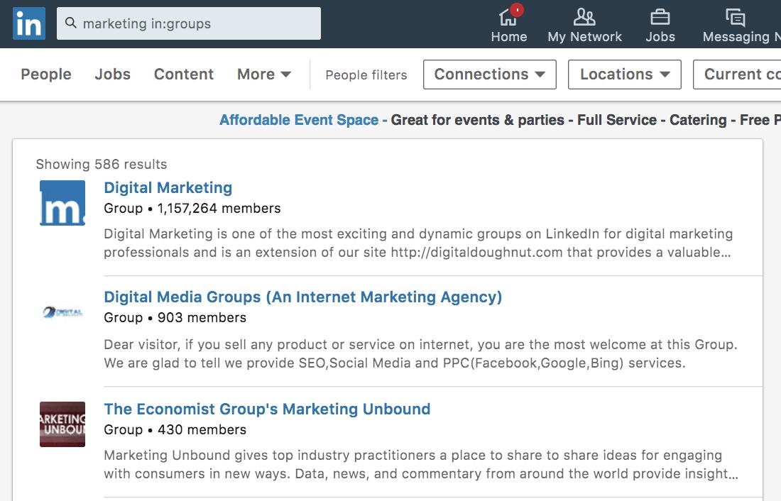screenshot of linkedin groups